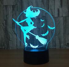 3D Halloween Bat Witch Night Light 7 Color Change LED Desk Lamp Touch Room Decor