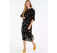 Lightweight Black Crepe Bell Sleeve Midi Dress With Floral Print Plus Size Uk 24
