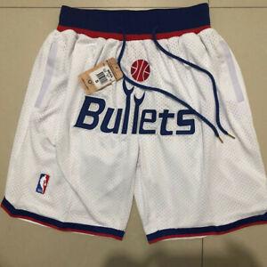 New Hot sale Men's Washington Wizards white pocket shorts size:S-XXL