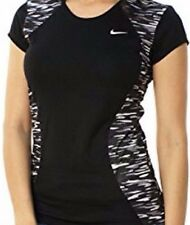 Nike Running NWT Women's Black 100% Polyester Top w/ Camouflage Inserts at Sides