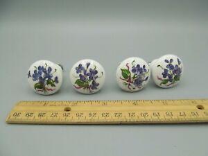 Lot of 4 Salvaged vintage Ceramic or Porcelain Drawer Cabinet Pulls Blue Flowers