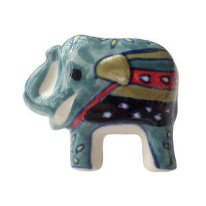 Hand Painted Handmade Ceramic Door Knobs Elephant Shape Teal Fair Trade