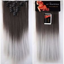 Thick Long 8PCS Clip In Real as Remy Human Hair Extension Full Head highlight US