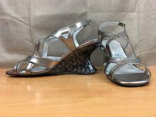 Andiamo  Women's Wedge Size 8M Melissa Silver Black Strappy Slingback Peep Toe