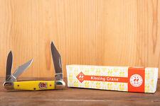 Kissing Crane KC3313 Yellow Fiddleback Whittler Knife with Original Box V16