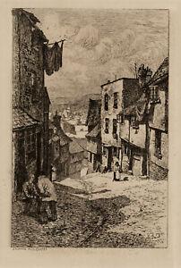 NHJ Baird 1900 Stepcote Hill, Exeter Etching Print