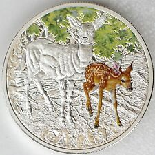 Canada 2015 $20 Baby Animals Series White-tailed Deer Doe & Fawn 1oz Pure Silver