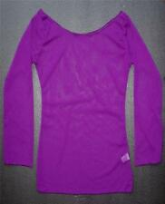 Sexy Purple Chiffon TOP Ladies Fishnet See Through Tight Fitting Clothing Size S