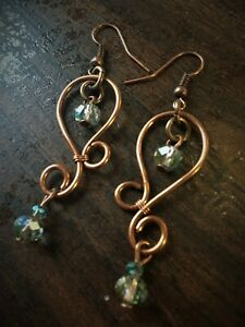Crystal Earrings Handcrafted Copper Wire Swirl Iridescent Crystal Earrings