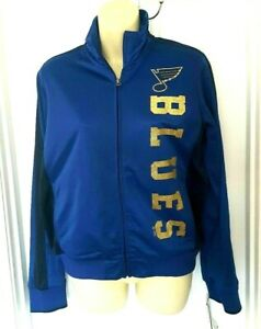 St Louis Blues Womens Jacket Size Small GIII Gold Sparkle Logos Coat Zip Front