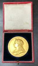 "Large 2.25"" Queen Victoria Diamond Jubilee Gold Medal 1897"