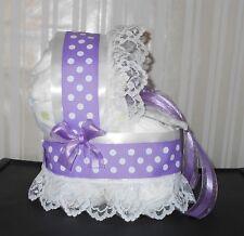 Purple & White Polka Dot Girls Diaper Cake Bassinet Baby Shower Gift Centerpiece