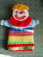 "Smiling Circus Clown Hand Puppet Hand Crochet Washable Yarn 10.5""H x 8.5""W - NEW"