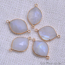 Gold Plated Rainbow moonstone 14x18 mm Marquise Double Bail Gemstone Connector