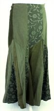 Per Una Boho Patchwork Green Needle Cord Lace Faux Suede Long Flare Skirt 10 R