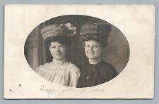 """Fancy Hat Girls """"Lizzie & Hattie"""" RPPC Rock Springs WY Estate Photo—Studio 1910s"""
