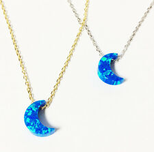 Sterling Silver BLUE OPAL CRESCENT MOON Pendant Necklace for WOMEN or KIDS - 925