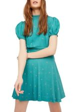 New NWT Women's Free People Abbie Fit & Flare Dress Mini Size 12 Green