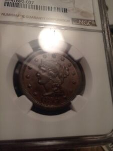 NGC Large Cent MS 61 BN 1853