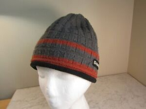 Simms Gray/Rust Logo Wool Blend Knit Beanie Fishing Ski Snowboard Hat OSFA