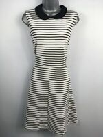WOMENS DOROTHY PERKINS BLACK WHITE STRIPED COLLARED FIT & FLARE MINI DRESS UK 16