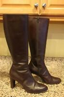 Stuart Weitzman Women's Brown Leather Mid Calf Boots Size 10M #19095 (BO300
