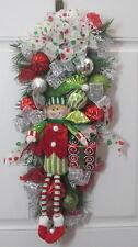 ELF CHRISTMAS Door Swag Teardrop Wreath