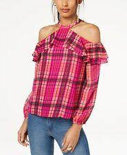 I.N.C. Ruffled Plaid Cold-Shoulder Top MSRP $69 Size L # 6B 314 NEW
