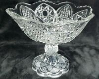 MINT Vintage Pressed Glass HEAVY Crystal Pedestal Centerpiece/Compote Bowl 8.5""