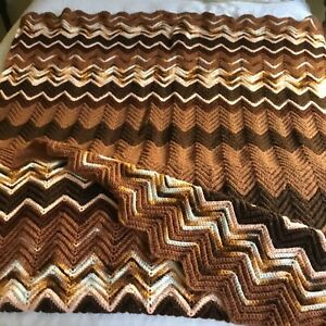 "Afghan Throw Vintage Handmade Crochet Zig Zag Blanket Lap Chevron 60"" X 90"""