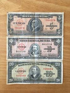 Lot de billets 5, 10 et 20 Pesos avant la Révolution Castriste