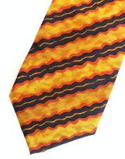 """Gold Orange Black Striped KENZO Silk Tie 3.8"""" Wide 57""""Long"""