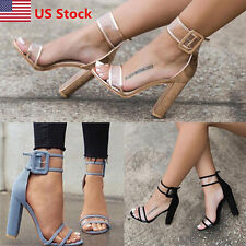 US Womens Ladies Block High Heels Buckle Ankle Strap Open Toe Sandals Shoes  Size