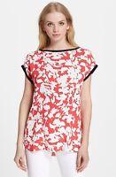 * NWT Kate Spade  leafy floral print cap sleeve top, Geranium 10, $225