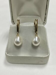 14k Yellow Gold Cultured Pearls Pear Shaped Drop Leverback Stud Earrings