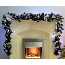 New Christmas Decorated Illuminated 40 Cool White LED Lights 9ft Black/Silver