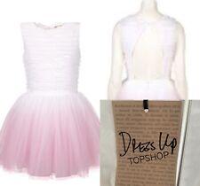 BNWT Topshop Dress Up 12 White Pink Dip Dye Ombre Ruffle Tutu Keyhole Back Dress