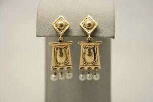 Antique 14k Yellow Gold Pearl Chandelier Screw Back Dangle Earrings 7.8g