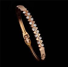 New Luxury Gold Plated Austrian Crystal Zig Zag Bangle Bracelet Gift Jewellery