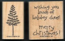 Pine Tree Christmas Loads of Love Pick-Up truck words Stampin' Up! Rubber Stamp