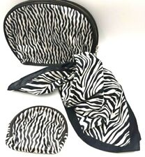 Set Makeup Cosmetic Pouch Coin Purse Organizer and Bandana Scarf Zebra Print