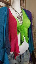 Womens Hippy TOP Bolero Shrug Cardigan Tie Up 10 12 14 16 18 One Size Fits All