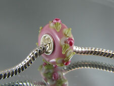 SINGLE SILVER CORE FLORAL MURANO GLASS BEAD EURO STYLE CHARM BRACELETS #MB 230