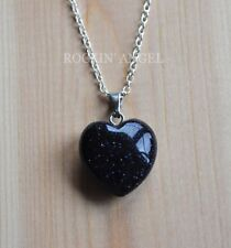 925 Silver Necklace 16mm Blue Goldstone Heart Pendant Reiki Healing Ladies Gift