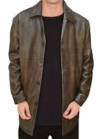 Men's Vintage Distressed Brown Real Leather Coat Jacket Long Trench Coat