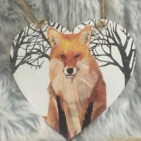 Handmade Decoupaged large wooden hanging heart  fox Christmas decoration