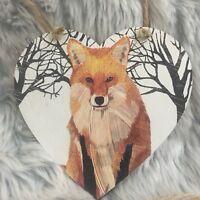Handmade Decoupaged large wooden hanging heart  fox Christmas decoration