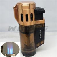 Windproof 3 Jet Torch Adjustable Flame Butane Viewable Refillable Lighter Gold