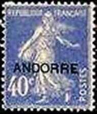 "ANDORRE FRANCAIS YVERT N° 11 "" SEMEUSE SUR FOND PLEIN 40c OUTREMER "" NEUF x TB"