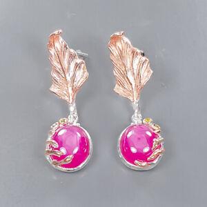 Fashion Art Jewelry Star Ruby Earrings Silver 925 Sterling   /E57341